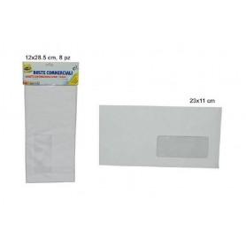 Buste Commerciali con Finestra e Strip Adesivo 11x23 cm 8 pz