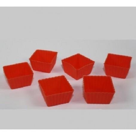 Big Chef Formine Piccole Quadrate in Silicone Colori Assortiti 6 pz