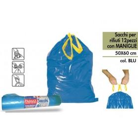 Pamax Sacchi Spazzatura Con Maniglie 50x60 Blu 12 pz