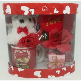 Tazzina San Valentino con peluche e fiore