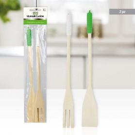 Set utensili da cucina in legno 2pz