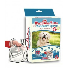 Raccoglitore + 50 sacchetti igienici per animali Pamax